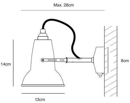 Bemassung Original 1227 Mini Wandleuchte von Anglepoise