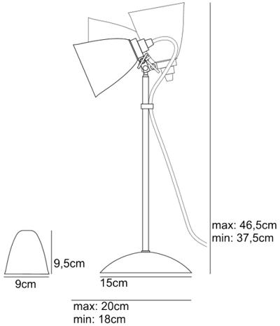 Bemassung Hector Dome small Tischleuchte BTC Original