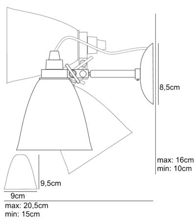 Bemassung Hector Dome small Wandleuchte BTC Original