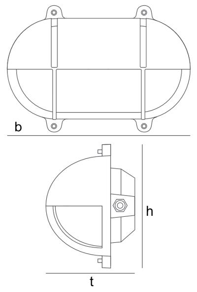 Bemassung Bulkhead Light Oval Messing mit Abdeckung Wandleuchte Davey Lighting