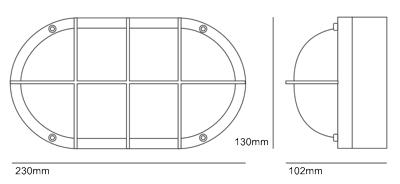 Bemassung 8122 Bulkhead Light Oval Aluminium Wandleuchte Davey Light