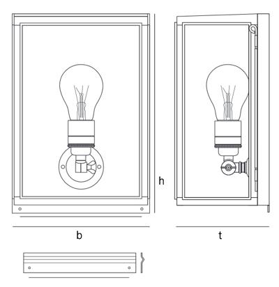 Bemassung Box Externally Glazed Wandleuchte Davey Lighting
