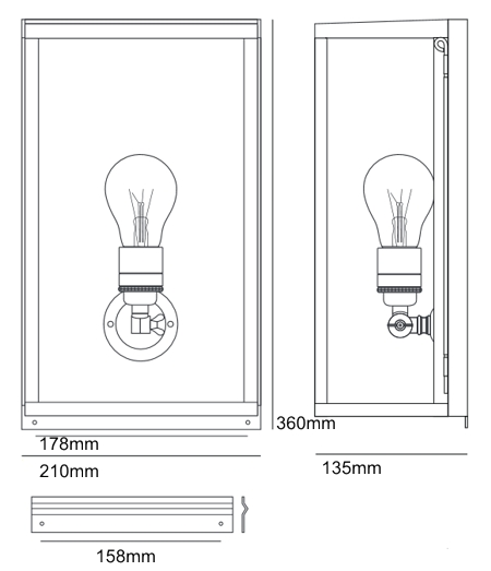 Bemassung Box Internally Glazed medium Wandleuchte Davey Lighting