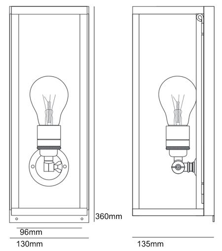 Bemassung Box Internally Glazed Narrow Wandleuchte Davey Lighting