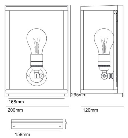 Bemassung Box Internally Glazed small Wandleuchte Davey Lighting