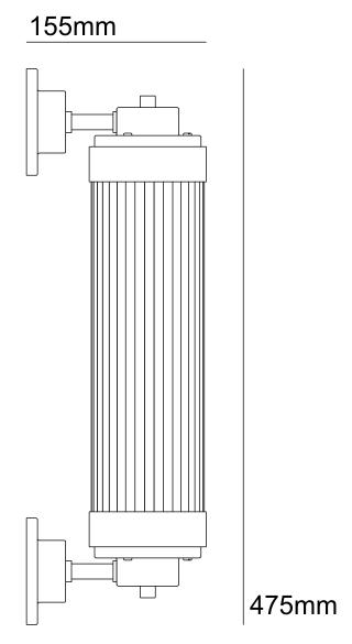 Bemassung Pillar Offset LED Wandleuchte Davey Lighting