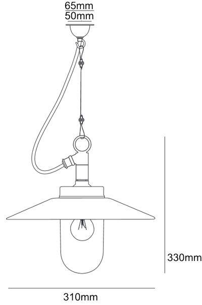 Bemassung Well Glass Pendant mit Schirm Aussenpendelleuchte Davey Lighting