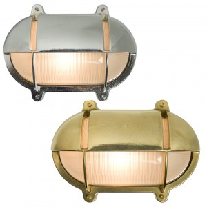 Davey Lighting Bulkhead Light Oval Messing mit Abdeckung Wandleuchte
